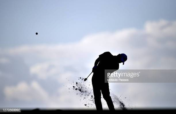 Robert MacIntyre of Scotland plays his sceond shot on the second hole during the second round of the Estrella Damm N. A. Andalucia Masters at Real...