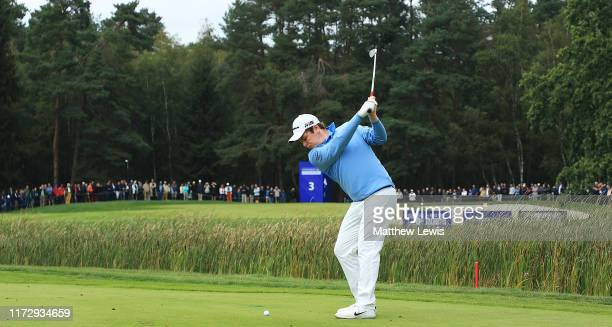 Robert Macintyre of Scotland plays his second shot from the 3rd fairway during Day Three of the Porsche European Open at Green Eagle Golf Course on...