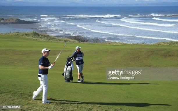 Robert MacIntyre of Scotland plays his second shot on the 13th hole during the final round of the Aberdeen Standard Investments Scottish Open at The...
