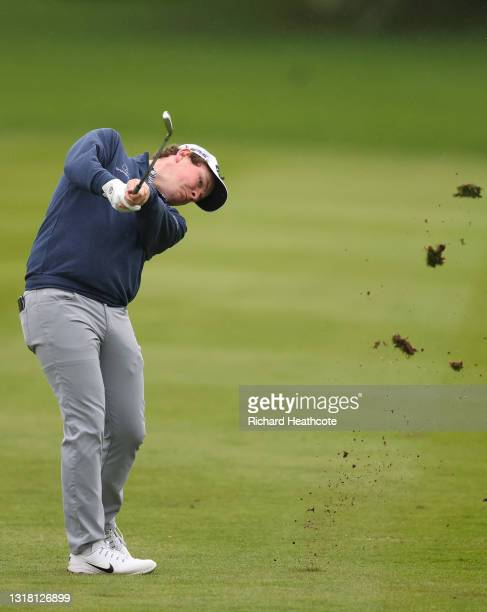 Robert MacIntyre of Scotland plays his second shot on the first hole during the final round of The Betfred British Masters hosted by Danny Willett at...