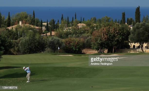 Robert MacIntyre of Scotland plays his second shot on the fourth hole during the second round of the Aphrodite Hills Cyprus Showdown at Aphrodite...