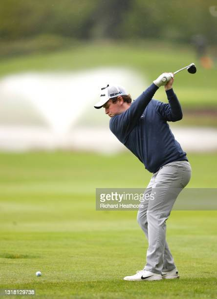 Robert MacIntyre of Scotland plays his second shot on the third hole during the final round of The Betfred British Masters hosted by Danny Willett at...