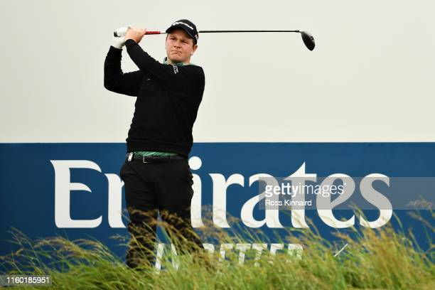 Robert MacIntyre of Scotland plays his tee shot on the fifteenth hole during Day Two of the Dubai Duty Free Irish Open at Lahinch Golf Club on July...