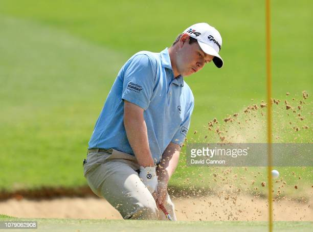 Robert MacIntyre of Scotland plays his third shot on the sixth hole during the third round of the South African Open on the Firethorn Course at...
