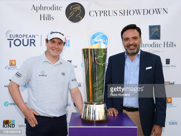 Robert MacIntyre of Scotland poses with the trophy after winning the Aphrodite Hills Cyprus Showdown during Day Four of the Aphrodite Hills Cyprus...