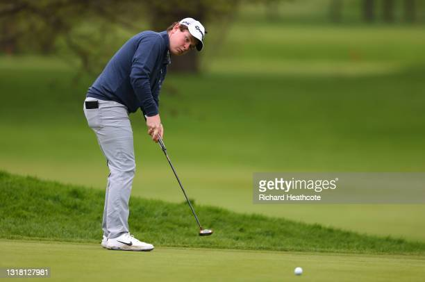 Robert MacIntyre of Scotland putts on the first green during the final round of The Betfred British Masters hosted by Danny Willett at The Belfry on...