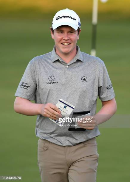 Robert Macintyre of Scotland reacts on the 18th green during Day 1 of the Aphrodite Hills Cyprus Showdown at Aphrodite Hills Resort on November 05,...
