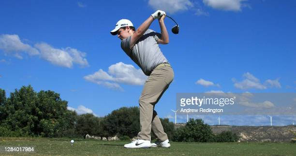 Robert Macintyre of Scotland tees off on the 1st hole during Day 1 of the Aphrodite Hills Cyprus Showdown at Aphrodite Hills Resort on November 05,...