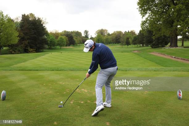 Robert MacIntyre of Scotland tees off on the first hole during the Final Round of The Betfred British Masters hosted by Danny Willett at The Belfry...