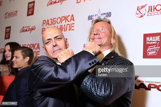 Robert Madrid and Matthias Hues attend 'Showdown in Manila' premiere in October cinema hall on February 9 2016 in Moscow Russia