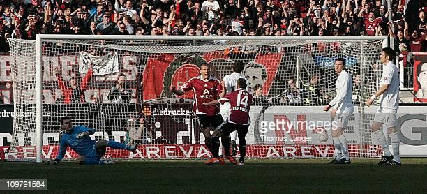 Robert Mak and Christian Eigler of Nuernberg celebrate after Eigler's 2-0 goal during the Bundesliga match between 1. FC Nuernberg and FC St. Pauli...