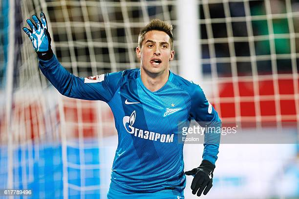 Robert Mak of FC Zenit St. Petersburg celebrates his goal during the Russian Football League match between FC Zenit St. Petersburg and FC Orenburg at...
