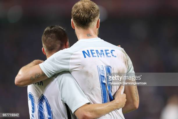 Robert Mak of Slovakia and Adam Nemec of Slovakia celebrate the goal during the international friendly match between Thailand and Slovakia at...