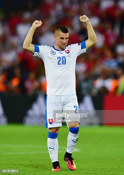 Robert Mak of Slovakia celebrates the draw after the UEFA EURO 2016 Group B match between Slovakia and England at Stade Geoffroy-Guichard on June 20,...
