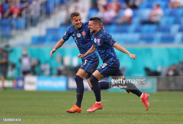 Robert Mak of Slovakia celebrates their side's first goal, an own goal by Wojciech Szczesny of Poland during the UEFA Euro 2020 Championship Group E...