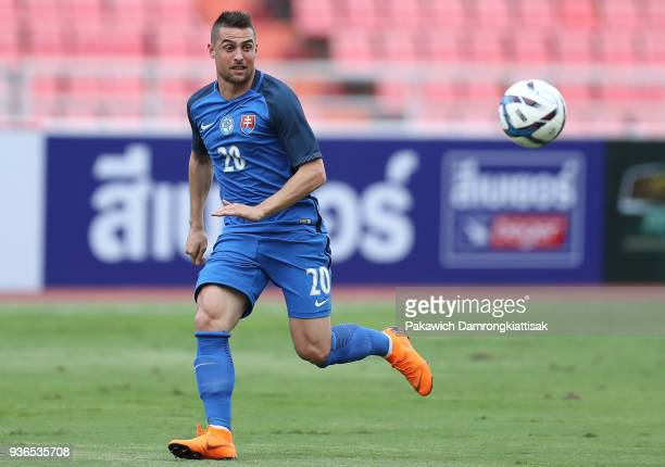 Robert Mak of Slovakia chases the ball during the international friendly match between Slovakia and United Arab Emirates at Rajamangala National...