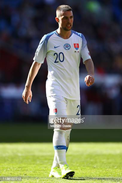 Robert Mak of Slovakia during the 2020 UEFA European Championships qualifying group E match between Wales and Slovakia at Cardiff City Stadium on...