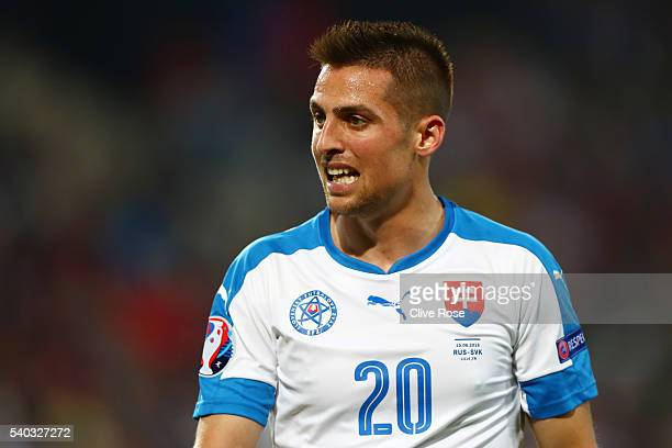Robert Mak of Slovakia in action during the UEFA EURO 2016 Group B match between Russia and Slovakia at Stade Pierre-Mauroy on June 15, 2016 in...