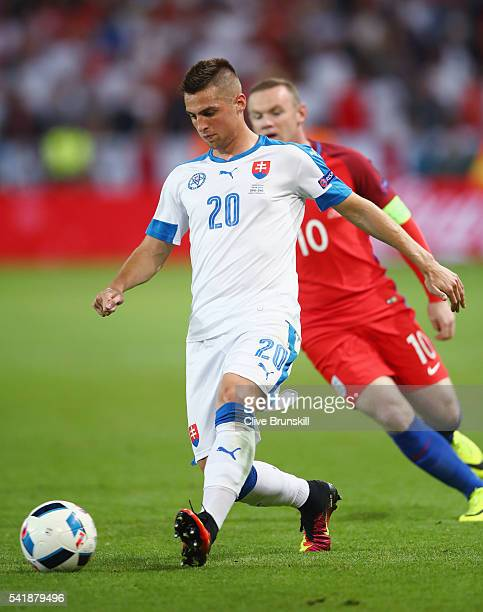 Robert Mak of Slovakia in action during the UEFA EURO 2016 Group B match between Slovakia and England at Stade Geoffroy-Guichard on June 20, 2016 in...