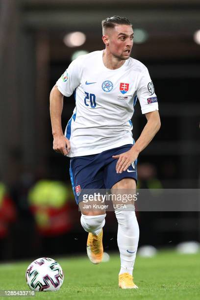 Robert Mak of Slovakia in action during the UEFA EURO 2020 Play-Off Final between Northern Ireland and Slovakia at Windsor Park on November 12, 2020...
