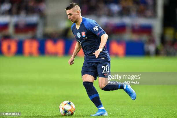 Robert Mak of Slovakia in action during the UEFA Euro 2020 qualifier between Slovakia and Wales on October 10 2019 in Trnava Slovakia