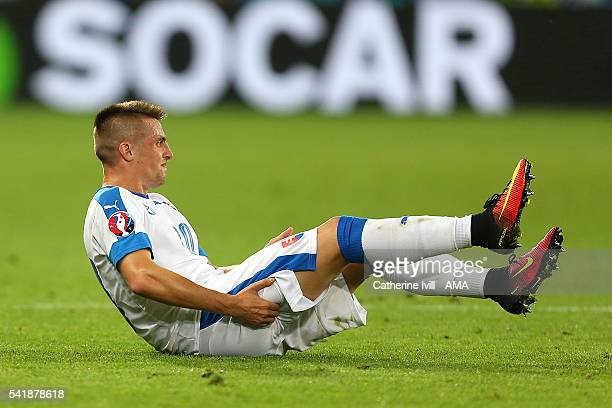 Robert Mak of Slovakia reacts to an injury during the UEFA EURO 2016 Group B match between Slovakia and England at Stade Geoffroy-Guichard on June...