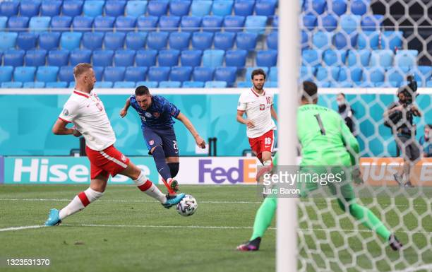 Robert Mak of Slovakia scores their side's first goal past Wojciech Szczesny of Poland during the UEFA Euro 2020 Championship Group E match between...