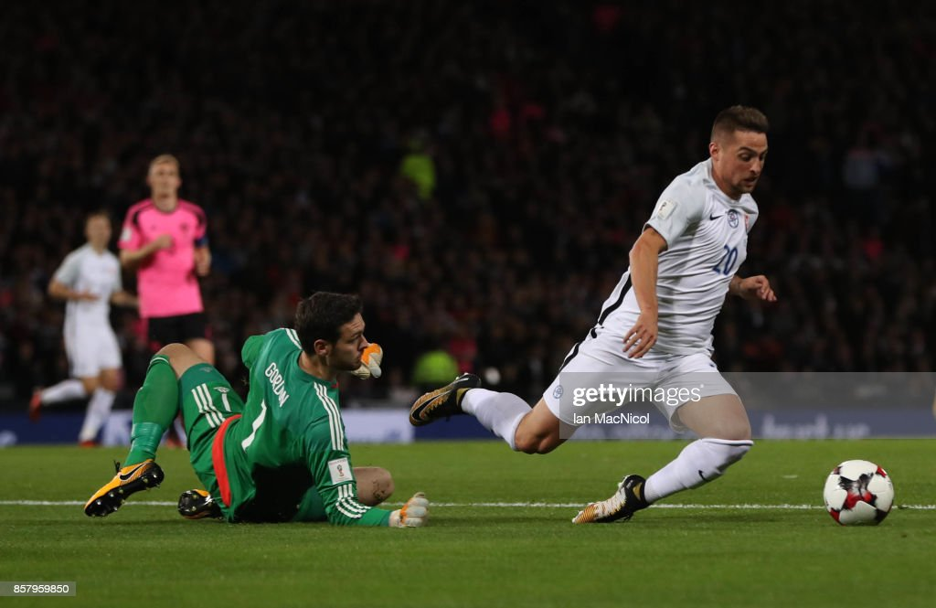 Robert Mak of Slovakia vies with Craig Gordon of Scotland resulting in a red card for Robert Mak during the FIFA 2018 World Cup Qualifier between Scotland and Slovakia at Hampden Park on October 5, 2017 in Glasgow, Scotland.