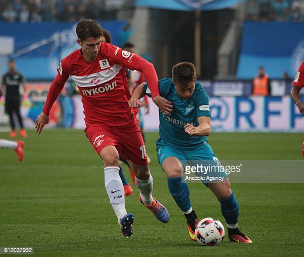 Robert Mak of Zenit StPetersburg in action against Ilya Kutepov of Spartak Moscow during Russian Footbal PremiereLeague football match between Zenit...