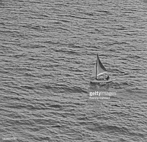 Robert Manry sails his boat 'Tinkerbelle' from Falmouth in Massachusetts to Falmouth in Cornwall, UK, August 1965. He began his journey on 1st June...