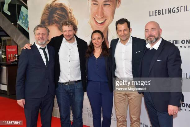 "Robert Marciniak, Marcus H. Rosemueller, Esther Copado, Hasan Salihamidzic and Alwin Munteanu attend the premiere of the film ""Trautmann"" at..."