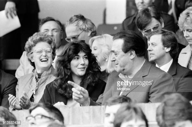 Robert Maxwell and his daughter Ghislaine watch the Oxford v Brighton football match 13th October 1984