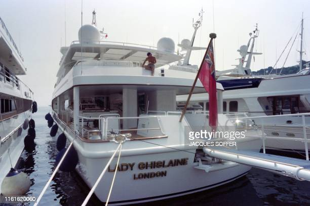 Robert Maxwell's private yacht The Lady Ghislaine is moored at the Hercules Port in Monaco on July 22 1992 Emad Khashoggi also developer of the...
