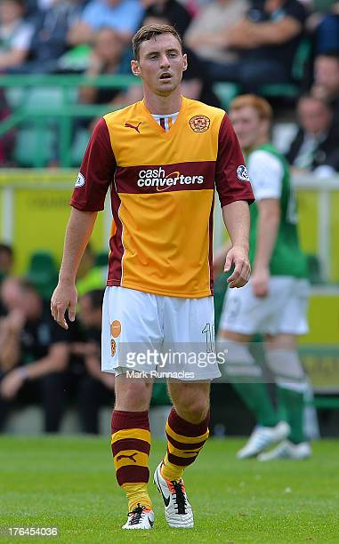 Robert McHugh of Motherwell in action during the Scottish Premiership League match between Hibernian and Motherwell at Easter Road on August 04 2013...