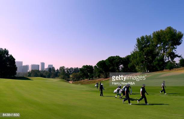 Robert McIntyre of Team Great Britain and Ireland leads the walk to the third green during practice for the 2017 Walker Cup at the Los Angeles...