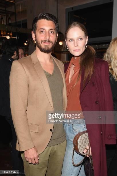 Robert McKinley and Kate Nauta attend WSJ Cocktail Party during Milan Design Week on April 5 2017 in Milan Italy