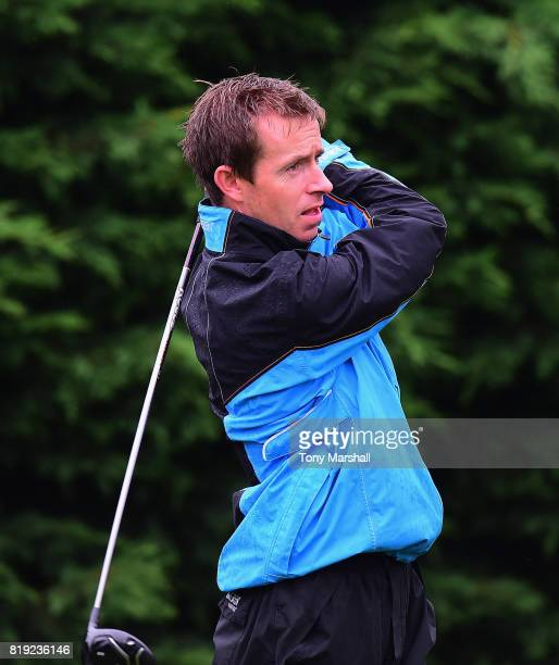 Robert McNicholas of Saffron Walden Golf Club plays his first shot on the 1st tee during the PGA Lombard Trophy East Qualifier at Sandy Lodge Golf...