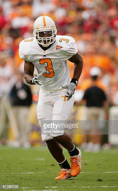 Robert Meachem of the Tennessee Volunteers runs against the Georgia Bulldogs at Sanford Stadium on October 9, 2004 in Athens, Georgia. Tennessee won...
