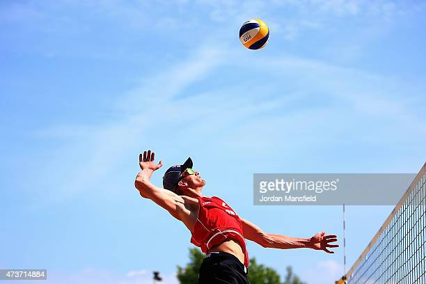 Robert Meeuwsen of the Netherlands jumps to spike during Day 6 of the FIVB Lucerne Open on May 16 2015 in Lucerne Switzerland
