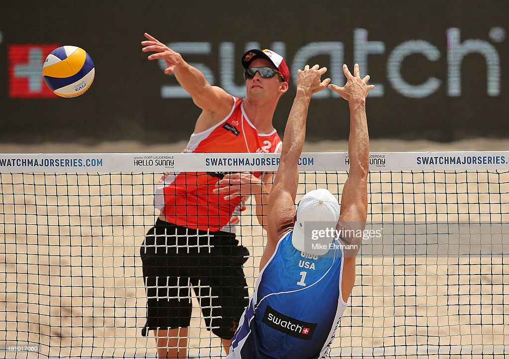 Robert Meeuwsen of the Netherlands plays a shot during a match against Jake Gibb of the United Statesand at the FIVB Fort Lauderdale Swatch Season Final on Fort Luaderdale Beach on October 2, 2015 in Fort Lauderdale, Florida.