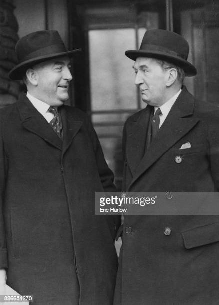 Robert Menzies the Australian Prime Minister leaves his hotel with Stanley Bruce the Australian High Commissioner to the UK en route to the Ministry...