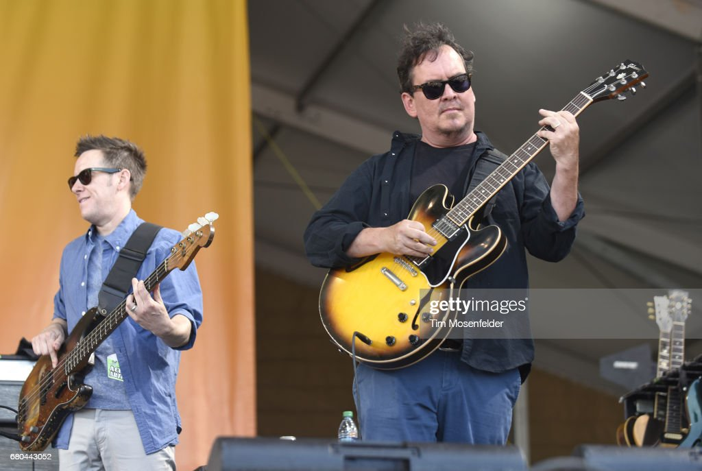 Robert Mercurio (L) and Jeff Raines of Galactic perform during the 2017 New Orleans Jazz & Heritage Festival at Fair Grounds Race Course on May 7, 2017 in New Orleans, Louisiana.
