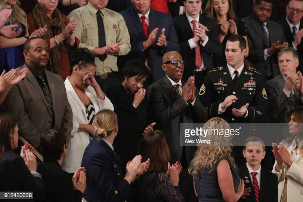RObert Mickens Elizabeth Alvarado Evelyn Rodriguez and Freddy Cuevas parents of children who were murdered by MS13 are acknowledged as US President...