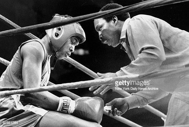 Robert Middlebrooks coaches his son Daryl between bouts in Golden Gloves Tournament at Madison Square Garden