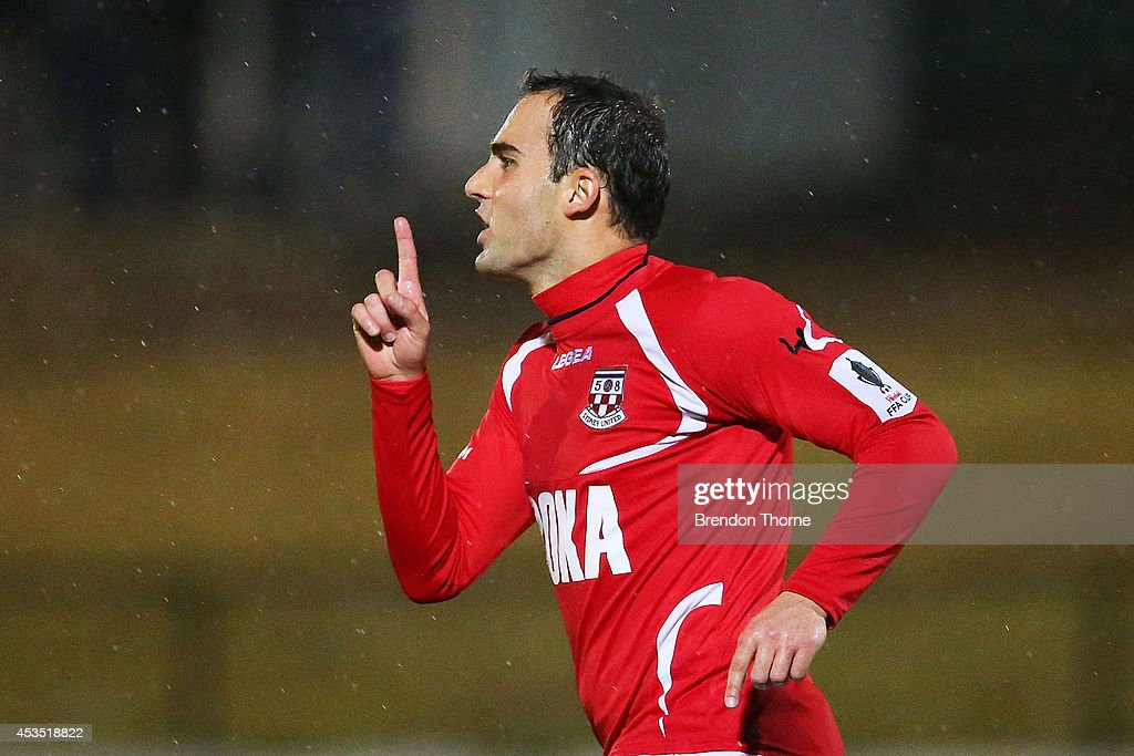 Robert Mileski of United celebrates after scoring a goal during the FFA Cup match between Sydney United 58 FC and the FNQ Heat at Sydney United Sports Centre on August 12, 2014 in Sydney, Australia.