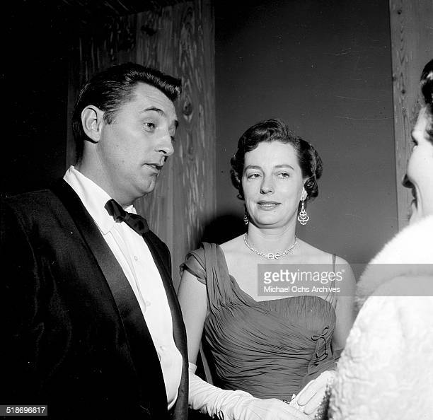 Robert Mitchum and wife Dorothy attend the Friars dinner in Los AngelesCA