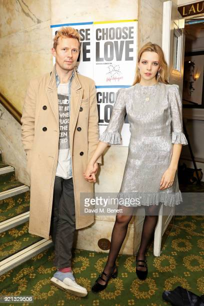Robert Montgomery and Greta Bellamacina attend the Choose Love fundraiser in aid of Help Refugees at The Fortune Theatre on February 19 2018 in...