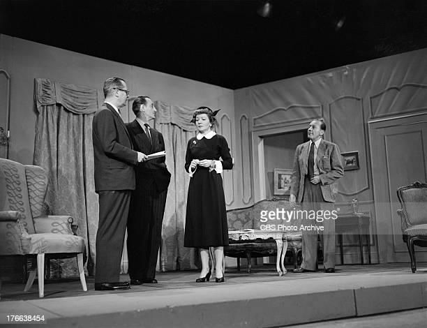 Robert Montgomery Basil Rathbone Claudette Colbert and Jack Benny on THE JACK BENNY SHOW Image dated March 30 1951