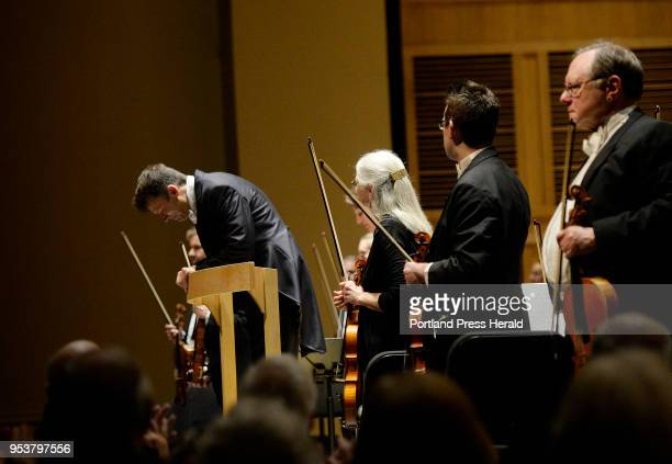 Robert Moody conductor of the Portland Symphony Orchestra takes a bow after he performs his final program with the Portland Symphony Orchestra...