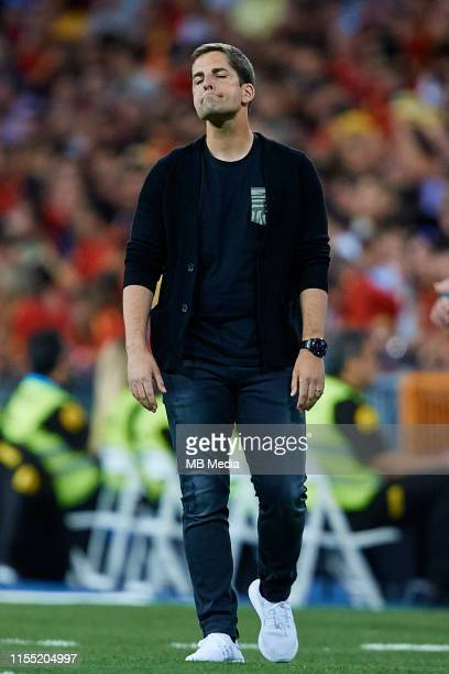 Robert Moreno head coach of Spain reacts during the UEFA Euro 2020 qualifier match between Spain and Sweden at Santiago Bernabeu on June 10 2019 in...